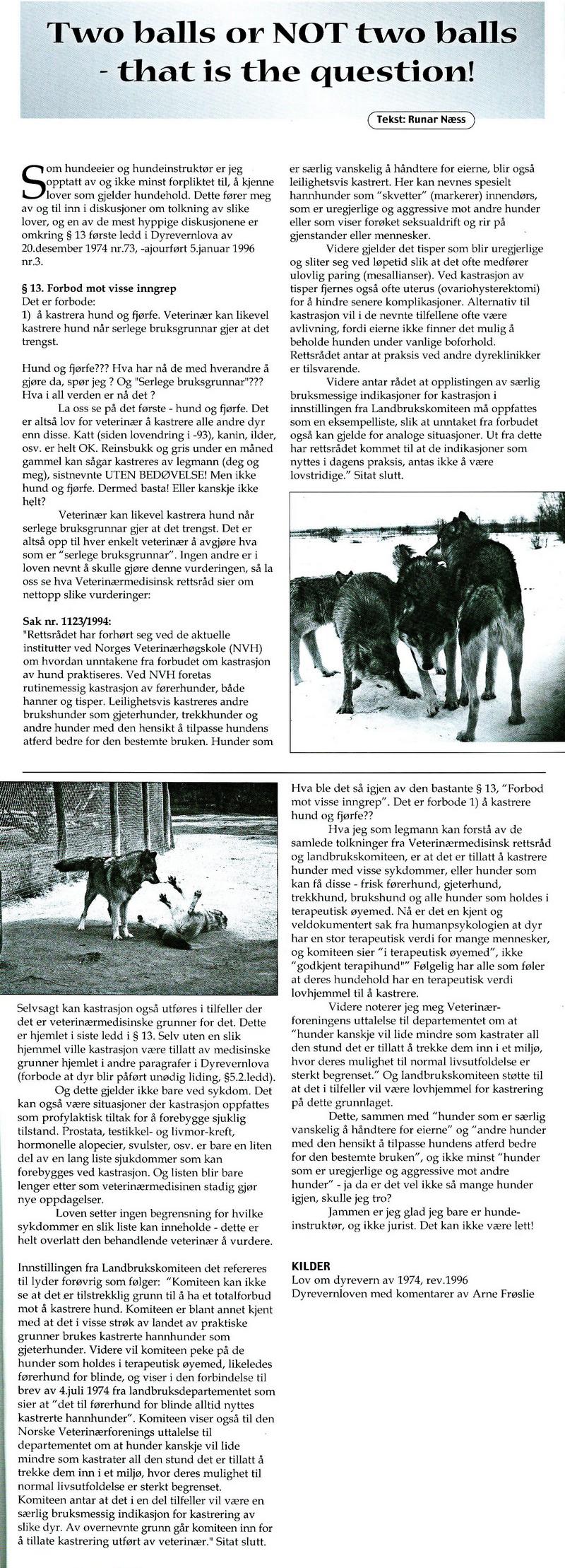 Artikkel om kastrering av hund